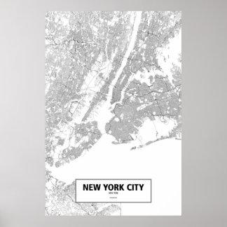 New York City, New York (Schwarzes auf Weiß) Poster