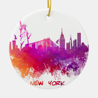 New York City Rundes Keramik Ornament