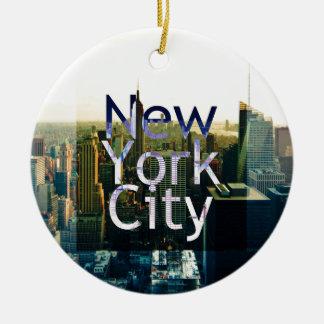 New- York Cityandenken Rundes Keramik Ornament
