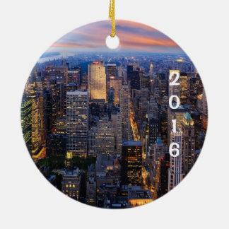 New- York Cityfeiertag Rundes Keramik Ornament