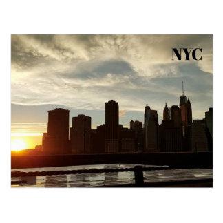 New- York Citysonnenuntergang-Postkarte Postkarte