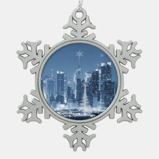 New- York Citywinter-Skyline Schneeflocken Zinn-Ornament