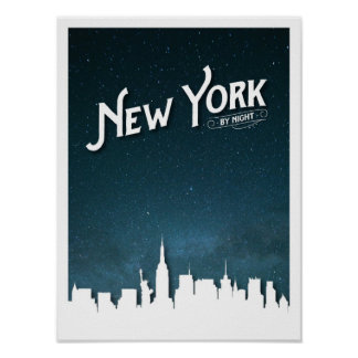 New York durch NachtSkyline - Plakat