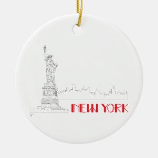 New York, Statue-von-Freiheit cool Rundes Keramik Ornament