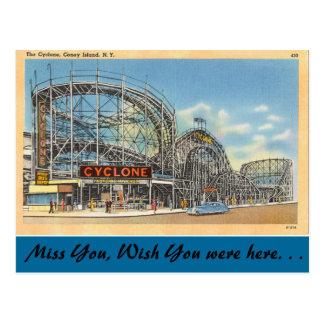New York, Wirbelsturm, Coney Island Postkarte