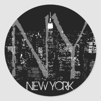 New- Yorkaufkleber-New- YorkSkyline-Andenken Runder Aufkleber