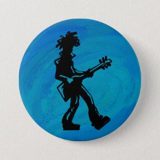 New- YorkBoogie-Nachtgitarren-Blau Runder Button 7,6 Cm