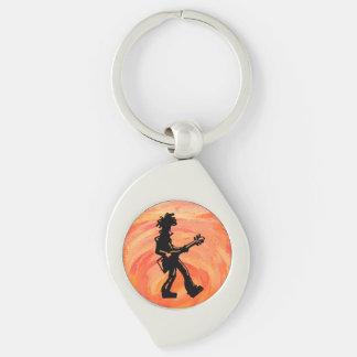 New- YorkBoogie-Nachtgitarren-Orange Silberfarbener Wirbel Schlüsselanhänger