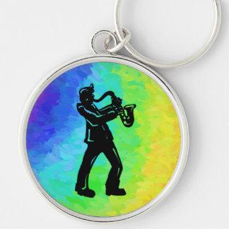 New- YorkBoogie-NachtSaxophon-Regenbogen Schlüsselanhänger