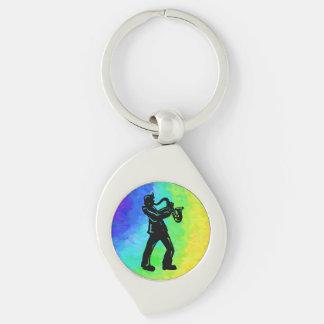 New- YorkBoogie-NachtSaxophon-Regenbogen Silberfarbener Wirbel Schlüsselanhänger