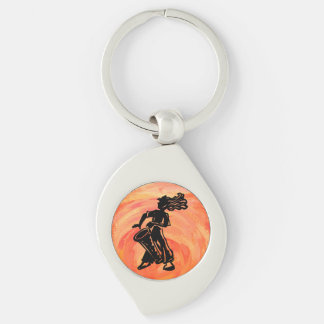 New- YorkBoogie-Nachttrommel-Orange Silberfarbener Wirbel Schlüsselanhänger