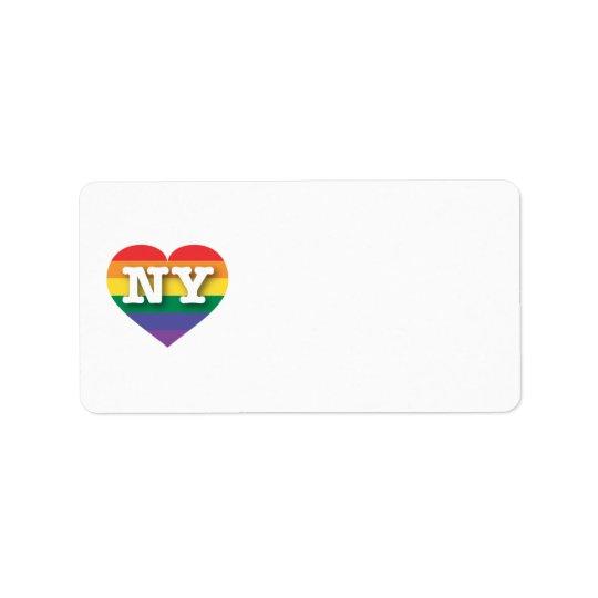 New- YorkGay Pride-Regenbogen-Herz - große Liebe Adressaufkleber