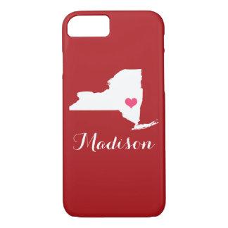 New- Yorkherz-Kastanienbraun-Gewohnheits-Monogramm iPhone 8/7 Hülle