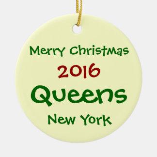 NEW- YORKQueens-FROHE WEIHNACHT-VERZIERUNG 2016 Rundes Keramik Ornament