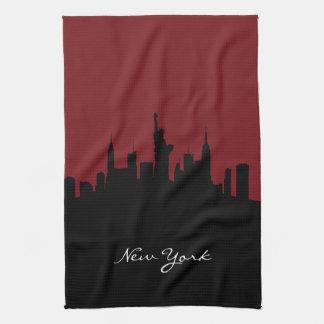 New- YorkSkyline | dunkelrot Geschirrtuch