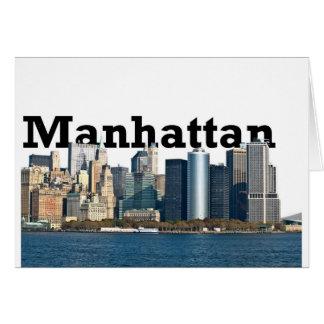 """New- YorkSkyline mit """"Manhattan"""" im Himmel oben Karte"""