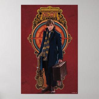 NEWT SCAMANDER™ stehende Kunst Nouveau Platte Poster