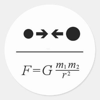 Newtons Gesetz der Gravitation Runder Aufkleber