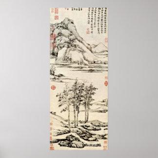 Ni Zan - Bäume in einem River Valley in Yu-Shan Poster