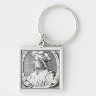 Niccolo Machiavelli, 1724 Silberfarbener Quadratischer Schlüsselanhänger