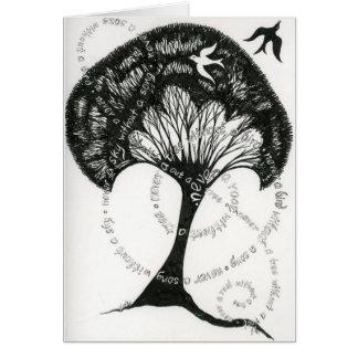 Nie eine Wurzel ohne eine Baumanmerkungskarte Karte