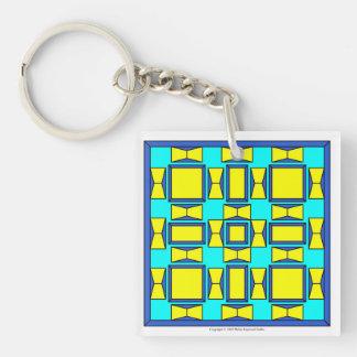 Niederländische Blau-, Cyan-blaue und Einseitiger Quadratischer Acryl Schlüsselanhänger