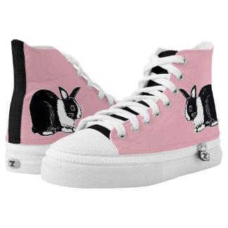 Niederländische Kaninchen-Schwarzweiss-Schuhe Hoch-geschnittene Sneaker
