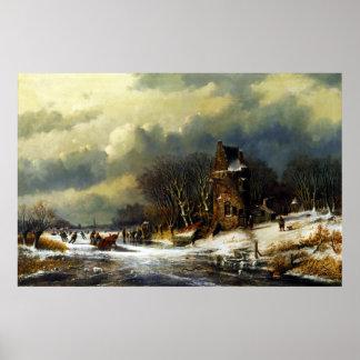 Niederländische Landschaft Andreas Schelfhout mit Poster