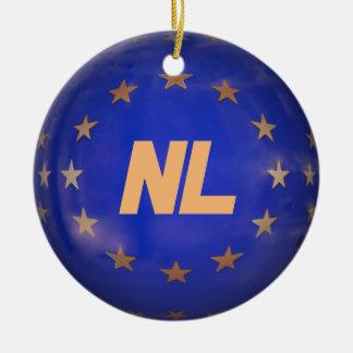Niederländische Weihnachtsverzierung E.U. Flag Rundes Keramik Ornament