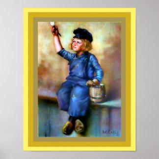 Niederländischer Jungen-Maler-Druck Vintage 1908 Poster