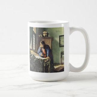 Niederländischer Künstler Vermeer, der den Kaffeetasse