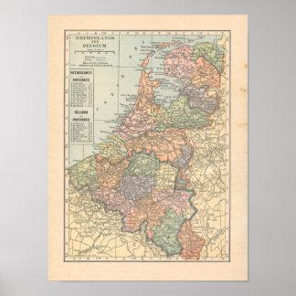 Niederländischer Vintager 1923 Karten-Druck Poster