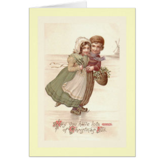 """""""Niederländisches KinderSkaten-"""" Weihnachtskarte Karte"""