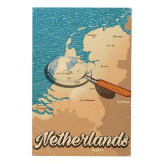 Niederländisches Vintages Kartenferienplakat Holzwanddeko