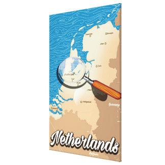 Niederländisches Vintages Kartenferienplakat Leinwanddruck