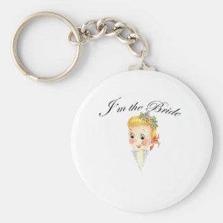 Niedlich bin ich das Braut-Henne-Party-Brautparty Standard Runder Schlüsselanhänger