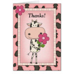 Niedlich danke - Kuh u. Blume Grußkarten