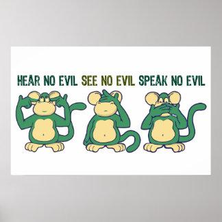 Niedlich hören Sie keine Übel-Affen Poster