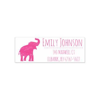 niedliche Adresse des rosa Elefanten Permastempel