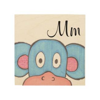 Niedliche Affe-Platten-Kunst - M ist für Affen Holzdruck