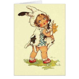 Niedliche antike Häschen-Kaninchen-tierische leere Karte