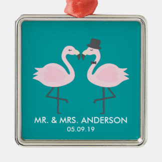 Niedliche aquamarine Flamingo-Paare Quadratisches Silberfarbenes Ornament