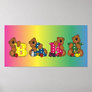 Niedliche Baby-Bärn-Wörter Poster