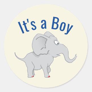 Niedliche Baby-Dusche des Elefant-|, zum der Runder Aufkleber