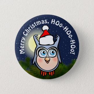Niedliche Baby-Eule mit Weihnachtshut Runder Button 5,1 Cm