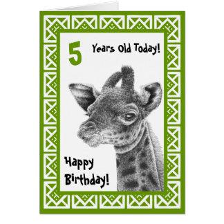 Niedliche Baby-Giraffen-Kindergeburtstag-Karte Karte