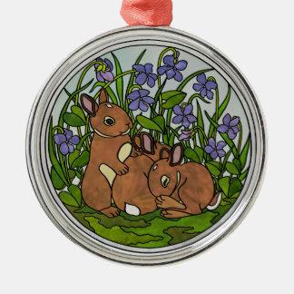 Niedliche Baby-Häschen-Verzierung Silbernes Ornament