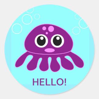 Niedliche Baby-lila Kraken-personalisierter Runder Aufkleber