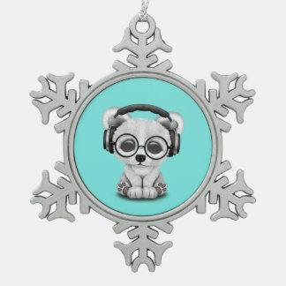 Niedliche Baby-polarer Bärn-tragende Kopfhörer Schneeflocken Zinn-Ornament
