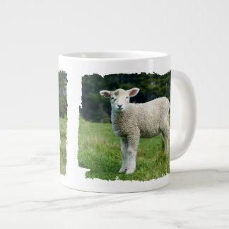 Niedliche Baby-Schaf-schlammiges Gesicht in der Jumbo-Mug